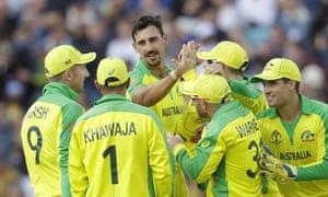Mitchell Starc celebrates taking the wicket of Sri Lanka's Thisara Perera.
