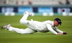 Ireland captain William Porterfield fails to catch out Sam Curran of England.