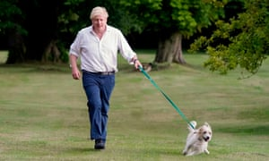 To promote the government's obesity strategy, No 10 released a photograph of Boris Johnson, who says he has lost a stone since he was hospitalised with Covid-19, walking his dog, Dilyn, in the grounds of Chequers.