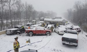 An image provided by the Connecticut state police shows the scene of a crash involving as many as 20 vehicles on Interstate 91 in Middletown, Connecticut Saturday.