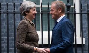 Theresa May and Donald Tusk in Downing Street