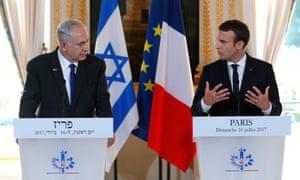 Benjamin Netanyahu and Emmanuel Macron mark the 75th anniversary of the Vel d'Hiv roundup, Paris, July 2017.
