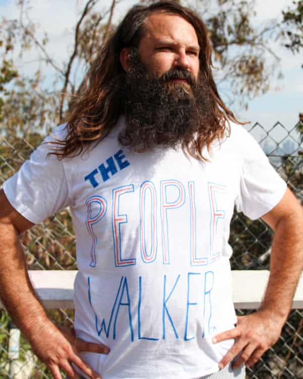 Chuck McCarthy charges per mile to walk with and talk to customers in LA, an example of the growing companionship industry.