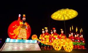 A light sculpture of a terracotta army