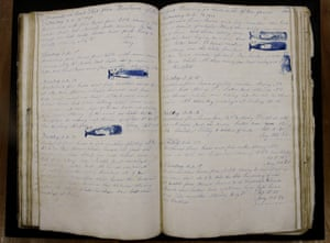 "A log book dated Nov. 2, 1847 through July 21, 1851 from the whaling vessel ""John Harland"" sits at the New Bedford Whaling Museum in New Bedford, Mass."