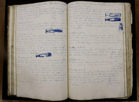 """A log book dated Nov. 2, 1847 through July 21, 1851 from the whaling vessel """"John Harland"""" sits at the New Bedford Whaling Museum in New Bedford, Mass."""