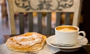 A traditional ensaïmada, and a coffee, at a cafe in Mallorca.