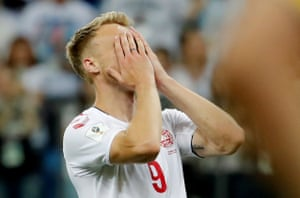 Jorgensen reacts after having his penalty saved.