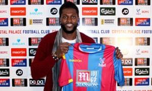 Emmanuel Adebayor is unveiled by Crystal Palace.