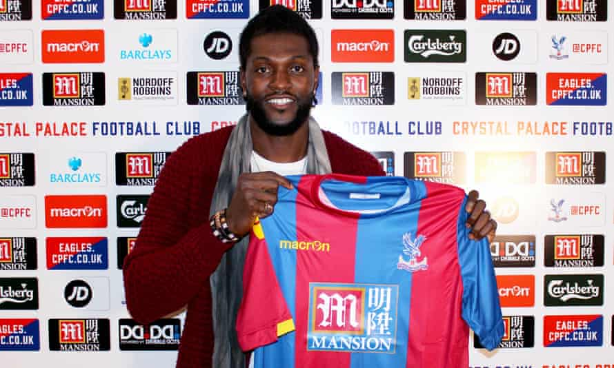 Emmanuel Adebayor is unveiled by Crystal Palace.