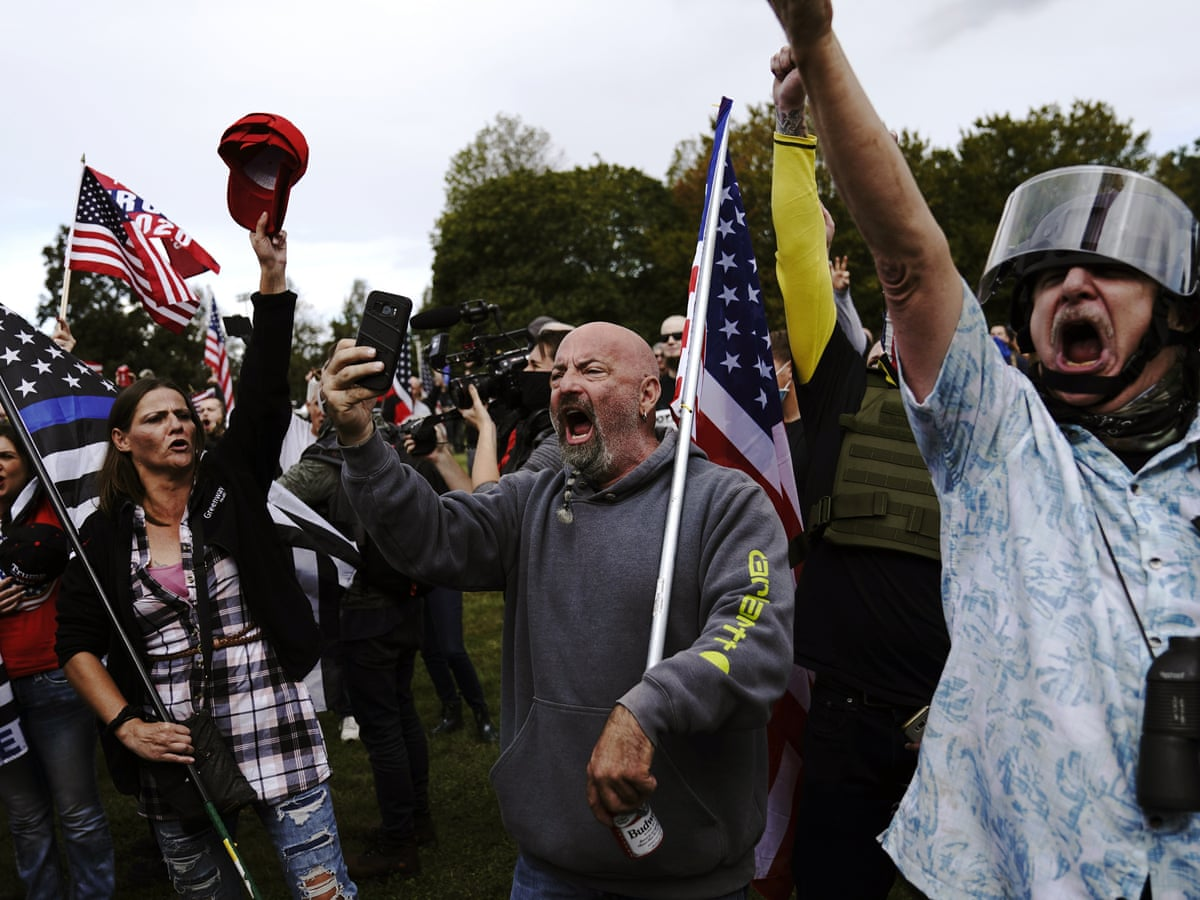 Proud Boys Rally In Portland Oregon Draws Smaller Crowd Than Authorities Feared Us News The Guardian