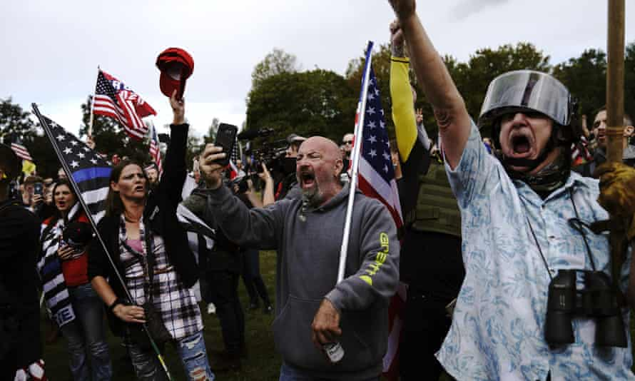Members of the Proud Boys and other rightwing demonstrators rally on Saturday in Portland.