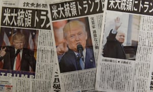 Japanese newspapers report the victory of Donald Trump. Japan's prime minister Shinzo Abe is a big loser from the election result.