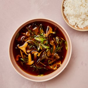 Earthy and fragrant: wild mushroom miso broth with jasmine rice.