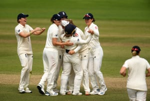 Tammy Beaumont of England celebrates after taking a catch to dismiss Beth Mooney of Australia.