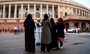 Muslim women visit parliament in New Delhi where the lower house outlawed the Muslim divorce practice of 'triple talaq'.