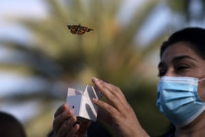 Fullerton, US. A butterfly is released during an event held to honour healthcare workers and those who lost loved ones to Covid-19, at Providence St Jude Medical Center in California