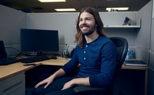 Dan Price of Gravity Payments photographed for Observer New Review in his HQ in Seatle, USA ( in an employees booth)