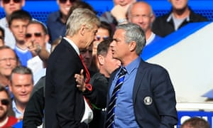 Arsène Wenger, left, and José Mourinho clash on the touchline at Chelsea in 2014. They go head to head at Manchester United on Sunday.