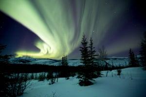 Northern lights in the night sky over Beaver Creek, Alaska