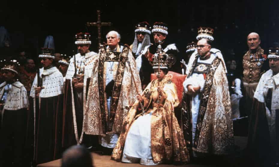 Queen Elizabeth II after her coronation ceremony in Westminster Abbey, London, 1953