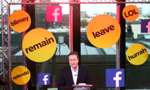 David Cameron takes part in a BuzzFeed News and Facebook Live EU referendum debate, June 2016.