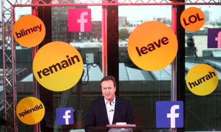 David Cameron takes part in a BuzzFeed News and Facebook Live EU referendum debate, June 2016.