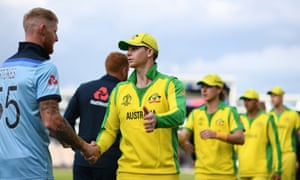 Australia's Steve Smith shakes hands with England's Ben Stokes after a World Cup warm up match in Southampton