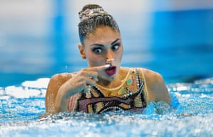 Evangelia Platanioti of Greece competes in the solo technical routine at the European synchronised swimming championships in Glasgow