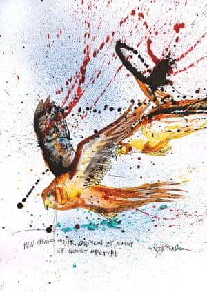Hen Harriers Mid-Air Collision at Moment of Gunshot Impact by Ralph Steadman