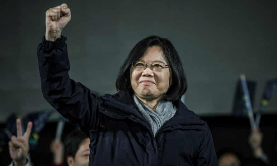 Democratic Progressive party (DPP) presidential candidate Tsai Ing-wen waves to supporters during rally campaign ahead of the Taiwanese presidential election.