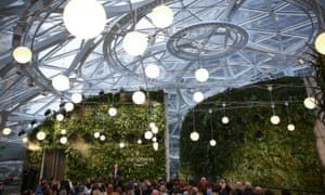Jeff Bezos at the launch of Amazon Spheres, a new botanical garden that forms part of its Seattle headquarters.