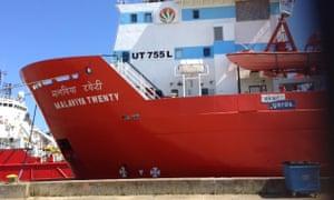 The Malaviya Twenty supply ship, stuck in Great Yarmouth.