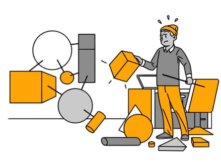 illustration of man with building blocks