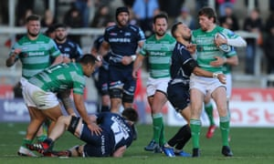 Bryan McGuigan of Sale Sharks tackles Simon Hammersley in what was a torrid match.
