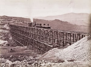 Promontory Trestle Work and Engine No. 2, 1869