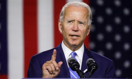 Joe Biden speaks about his plans for tackling climate change during a campaign event in Wilmington, Delaware, 14 July 2020.