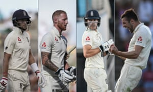 From left: England's captain Joe Root, Ben Stokes, Rory Burns and Mark Wood.