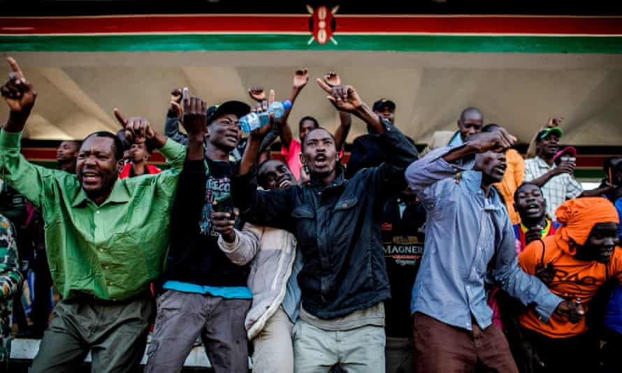 Supporters of the National Super Alliance and Raila Odinga celebrate his swearing-in.