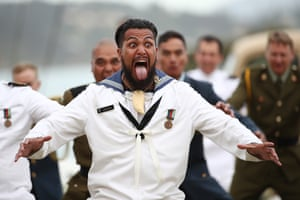 New Zealand Defence Force personal perform a haka during Te Rau Aroha, an evening to commemorate Maori service in the New Zealand Armed Forces .