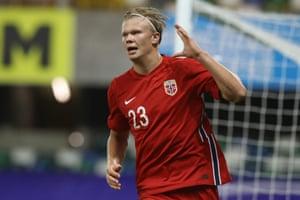 Erling Braut Haaland celebrates scoring Norway's fifth.