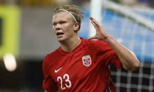 Erling Braut Haaland celebrates scoring Norway's fifth goal against Northern Ireland.