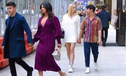 Nick Jonas with his wife Priyanka Chopra and Joe Jonas with Sophie Turner, May 2019.