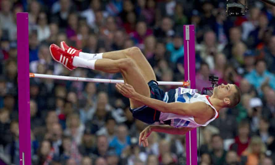 Britain's Robbie Grabarz on his way to a bronze medal at London 2012