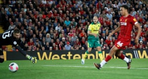 Norwich City's Teemu Pukki pulls a goal back with a fine finish.