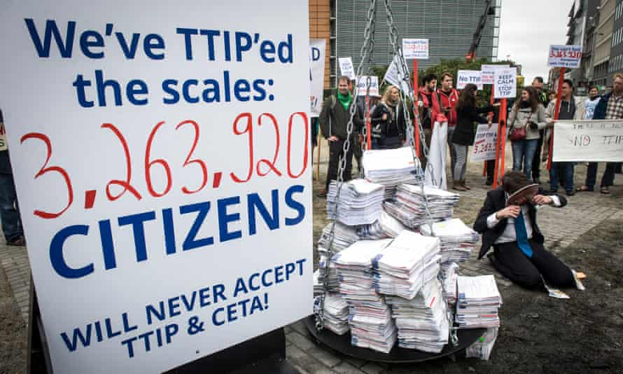 A petition against TTIP signed by 3 million people was handed to the European Commission in Brussels.