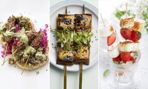 Ottolenghi lamb kebabs; Jidori aubergine skewers; marshmallows and strawberries.