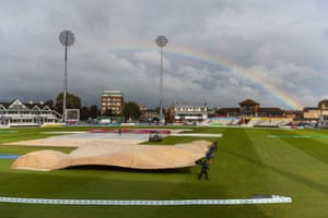 General view with a rainbow over the Cooper Associates County Ground during a rain delay.