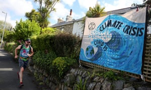 A banner on a fence in Carbis Bay, Cornwall, before the G7 summit.