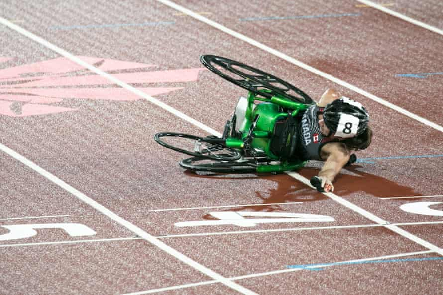 Jessica Frotten of Canada after she crashed during the women's T54 1500m final.